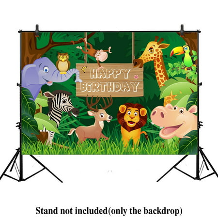 HelloDecor Polyester Fabric 7x5ft Jungle Safari Themed animals birthday party banner photo backdrop background photography