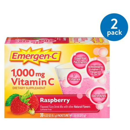 (2 Pack) Emergen-c drink mix, raspberry 1000mg packets, 30ct - Halloween Alcoholic Drink Mixes