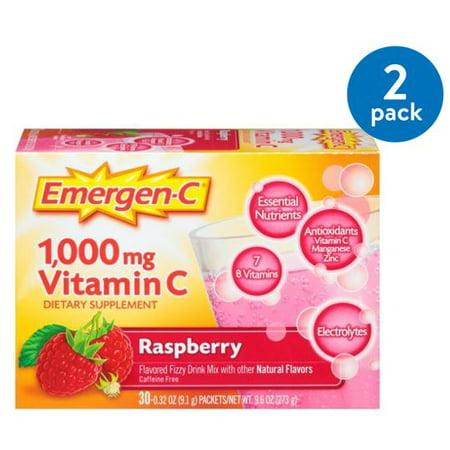Bio Health Raspberry Leaf - (2 Pack) Emergen-C Vitamin C Drink Mix, Raspberry, 1000 mg, 30 Ct