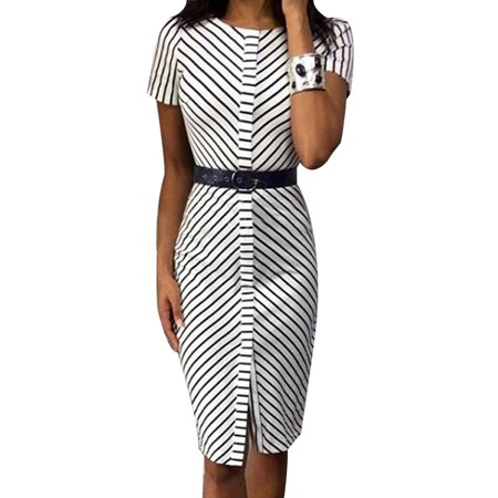KABOER 2019 Women Fashion Short Sleeve Work Ol Bodycon Dress Sexy Slim Office Dress Without Belt Summer Striped Bodycon Midi