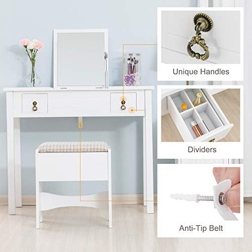 Makeup Vanity with Flip Top Mirror,Vanity Table Set/Cushioned Stool &2 Drawers,3 Removable Organizers Writing Desk Bedroom Bathroom Furniture Kids Bedroom Furniture (White)