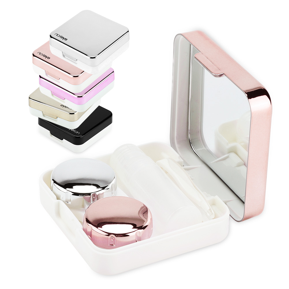 EECOO Contact Lenses Box,Reflective Cover Contact Lens Case Set Cute Lovely Travel Kit Box,Contact Lenses Case