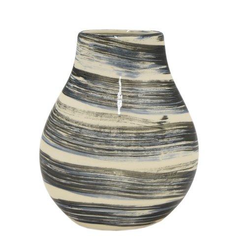 Bloomsbury Market Black/White Gloss Ceramic Table Vase