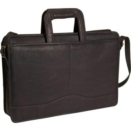 Single Gusset Drop Handle Leather Portfolio (Black)