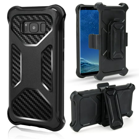 Samsung Galaxy Note 8 Case, Carbon Fiber Holster Combo [Tempered Glass Screen Protector] Kickstand Belt Clip Cover - Black Case Carbon Fiber Belt Clip