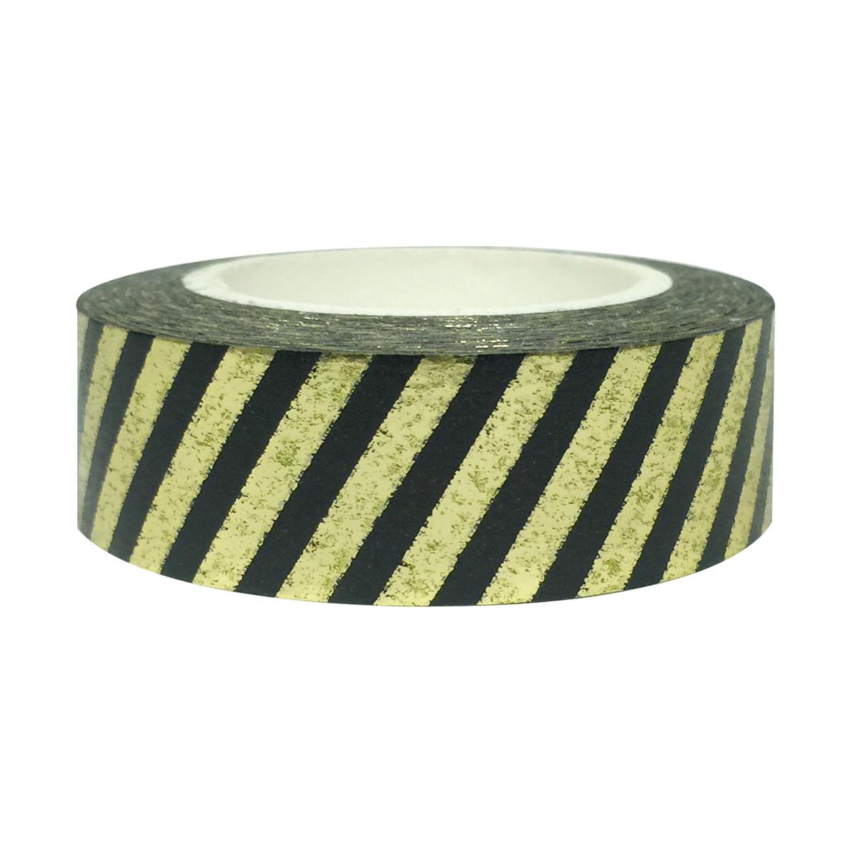 Wrapables® Colorful Washi Masking Tape, Black and Metallic Gold Stripes