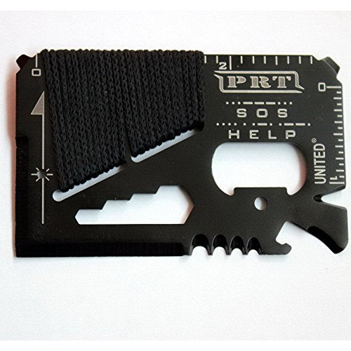 14-Tools-in-1 Stainless Steel Credit Card-Sized Survival Tool SOS Black