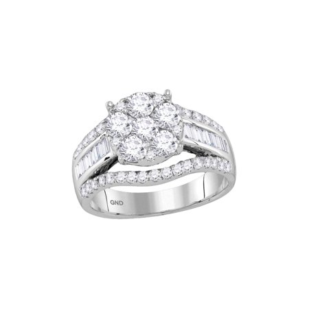 FB Jewels 14kt White Gold Womens Round Diamond Cluster Bridal Wedding Engagement Ring 1-7/8 Cttw