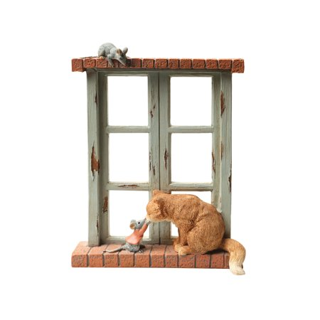 Art & Artifact Cat and Mice Sculpture - Rustic Hand Painted Resin Statuette, 6