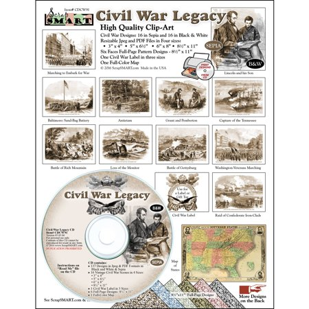 ScrapSMART Civil War Legacy Clip-Art CD-ROM, Vintage Images for Scrapbook, Craft, Sewing
