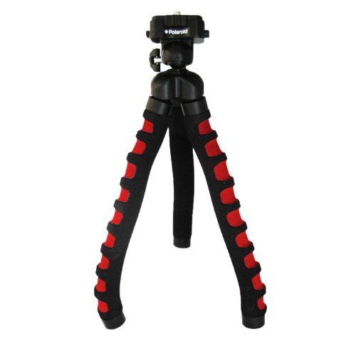 """Polaroid 12"""" Flexible Tripod With Protective Grip-Foam Coating (Red) For Digital Cameras & Camcorders"""