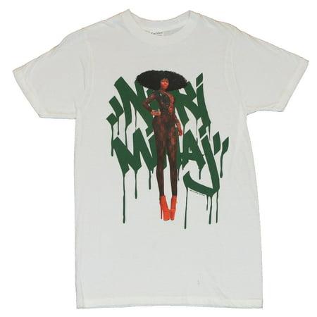 Nicki Minaj Mens T-Shirt  - Nicki Photo set on Dripping Logo on White (Nicki Minaj Wet T Shirt)