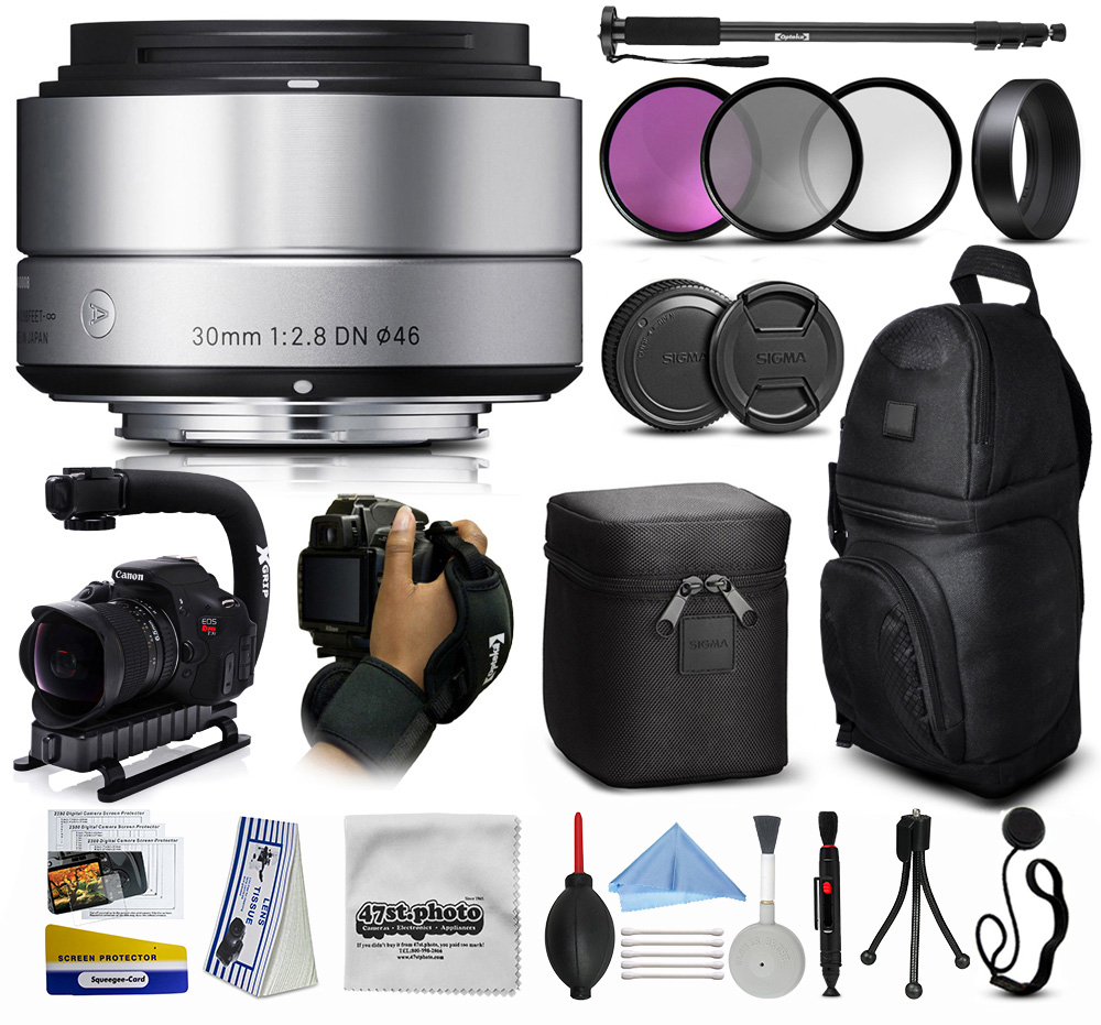 """Sigma 30mm F2.8 DN Silver Lens for Sony E-Mount NEX (33S965) + 3 Piece Filter Set (UV-CPL-FLD) + Stabilizer Handle + Sling Backpack + 67"""" Monopod + Wrist Strap + Cleaning Kit"""
