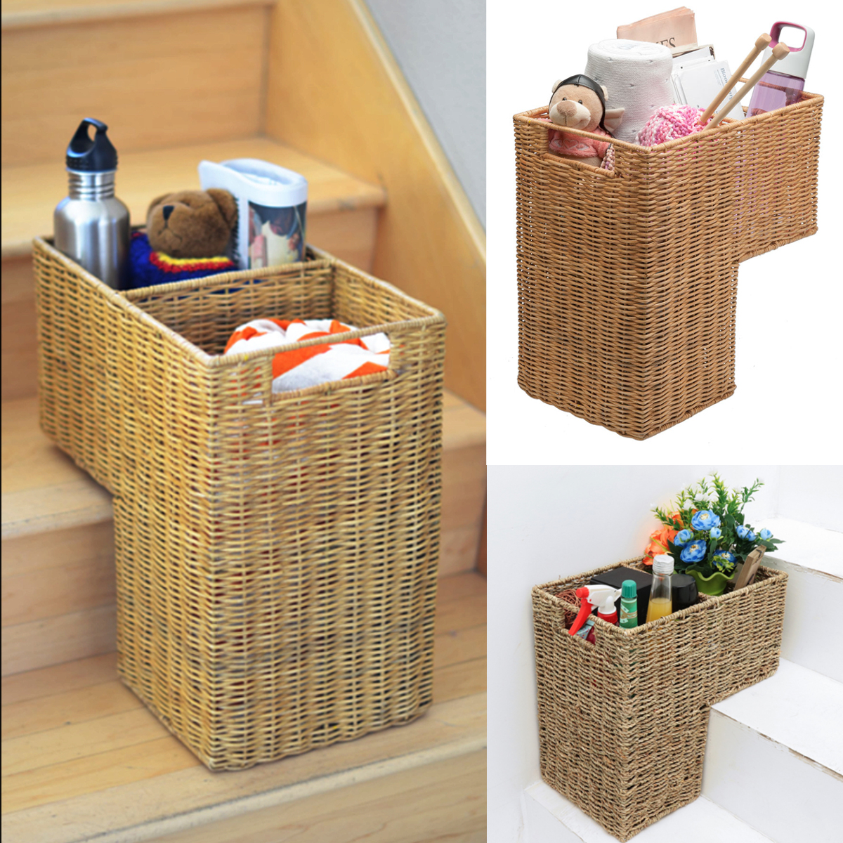 """16x8x16.5"""" Wicker Stair Step Basket Box Storage Container Handwoven Seagrass by"""