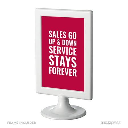 sales go up and down service stays forever funny inspirational quotes office framed desk art. Black Bedroom Furniture Sets. Home Design Ideas