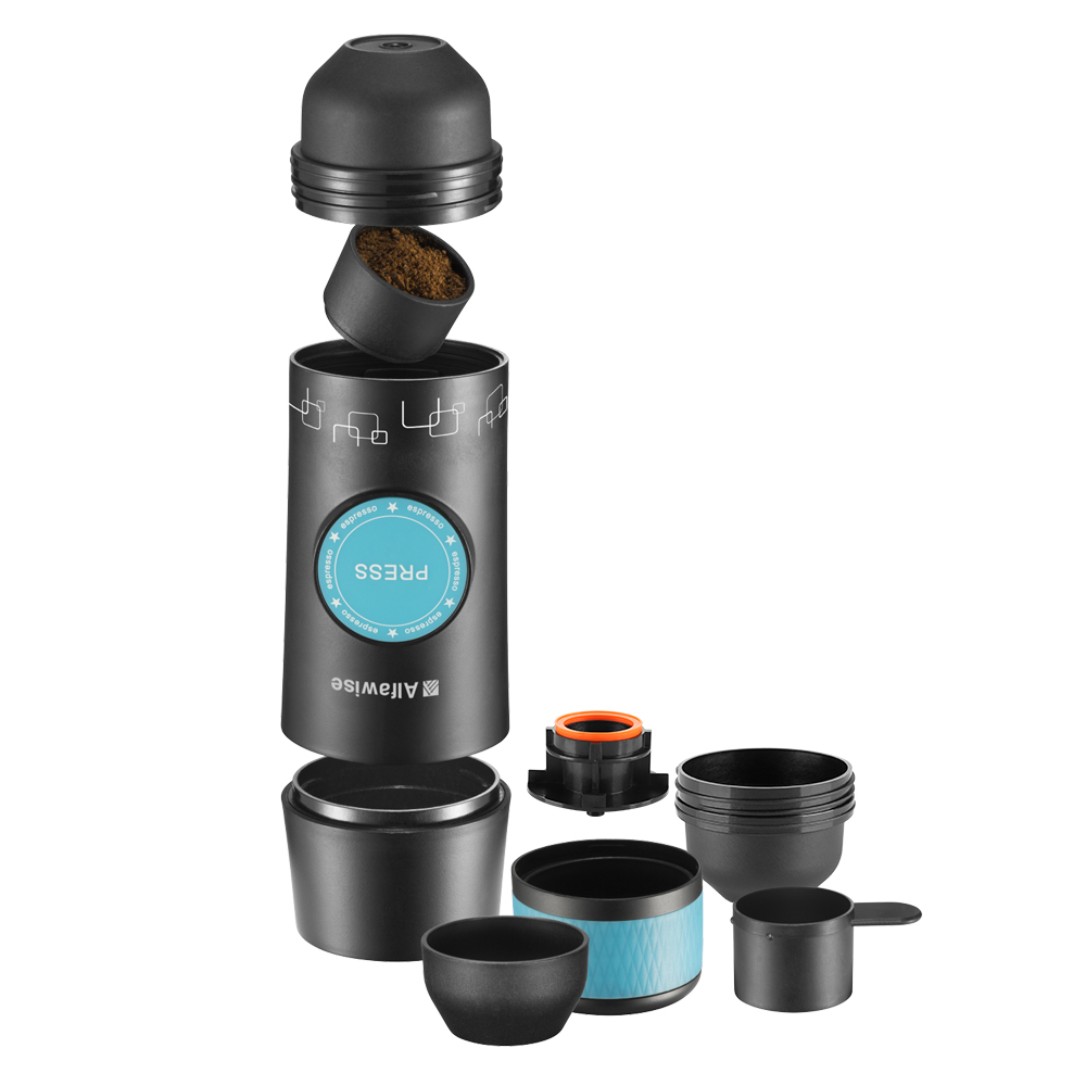 Alfawise Portable Expresso Machine, Mini Handheld Espresso Maker for Camping, Hiking, Travling, Home and Outdoor, One-Button Operation