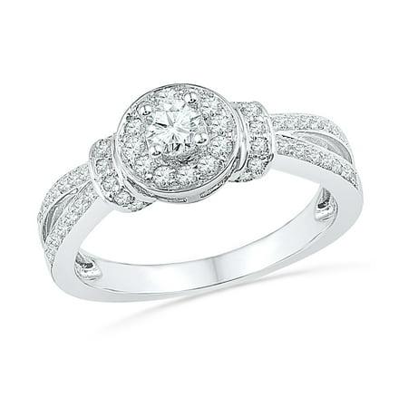 1/2 CT. TW. Round Diamond Engagement Ring in 14k White Gold