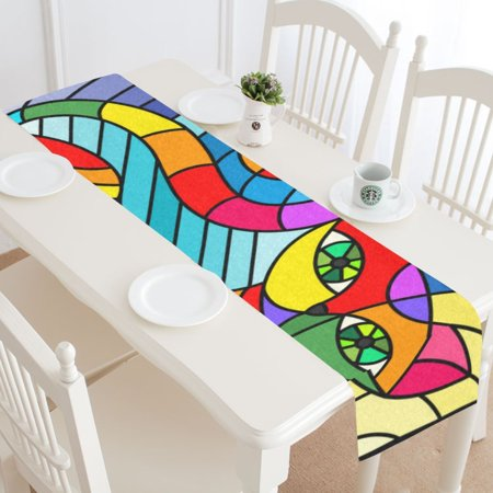 MKHERT Rainbow Cat Table Runner for Wedding Party Banquet Decoration 14x72 inch](Rainbow Table Decorations)