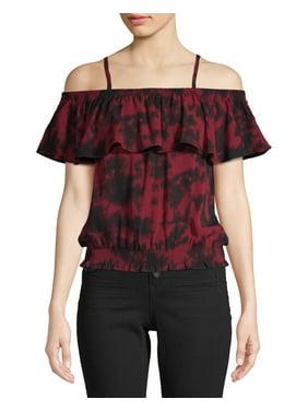 7111e78796aa Product Image No Boundaries Juniors' Smocked Lace Trim Cold Shoulder Blouse