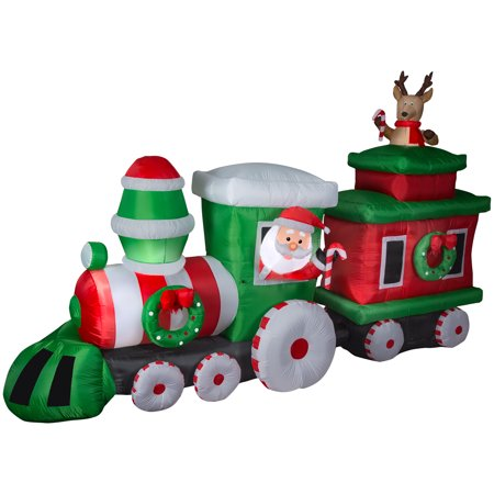 gemmy industries airblown inflatable santa train with caboose 14