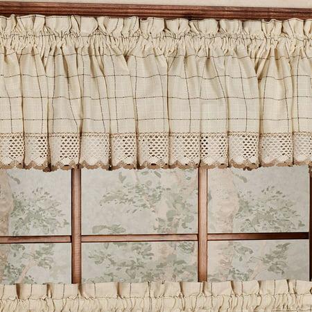 """Adirondack Cotton Kitchen Window Curtains - Toast - 12"""" x 60"""" Valance"""