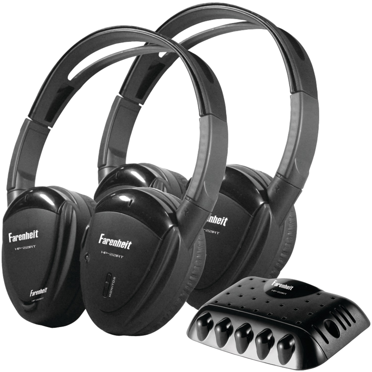 Power Acoustik HP-22IRT 2 Sets of 2-Channel RF 900MHz Wireless Headphones with Transmitter
