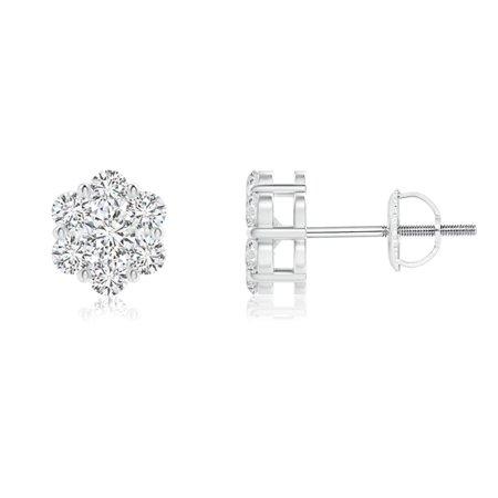 April Birthstone - Pressure-Set Diamond Cluster Stud Earrings in 14K White Gold (2.5mm Diamond) - SE1365D-WG-HSI2-2.5