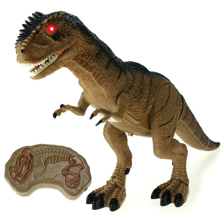 Dinosaur Planet Remote Controlled Battery Operated RC Toy Allosaurus Figure w/Shaking Head, Walking Movement, Light Up Eyes & Sounds - Dinosaur Animal Planet