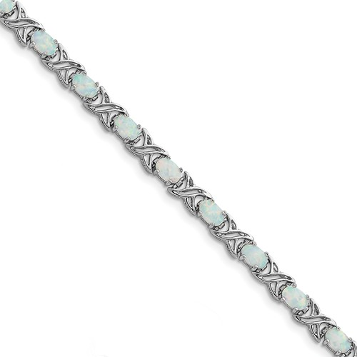 Sterling Silver 7inch Created Opal XO Bracelet by Jewelrypot