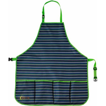Image of oGrow High-Quality Kids Garden Tool Apron with Adjustable Neck and Waist Belts, Blue Striped