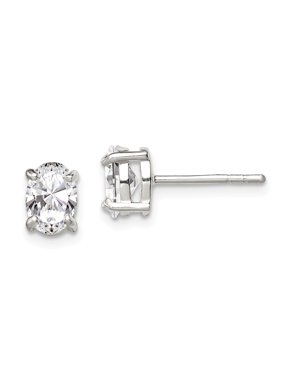 Diamond2Deal Solid 925 Sterling Silver 5x7mm Oval Cubic Zirconia Stud Earrings