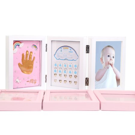 Clay Keepsake - Baby Handprint Footprint Photo Frame Teeth Lanugo Keepsake Box Triple Foldable Wooden Picture Frame With Clay Personalized Baby Shower Registry Gifts White