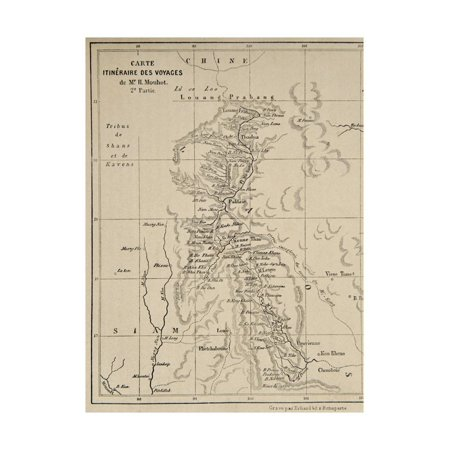 Map of Laos and the Mekong River Showing the Route of the Voyage of Henri Mouhot, Illustration… Print Wall Art By French