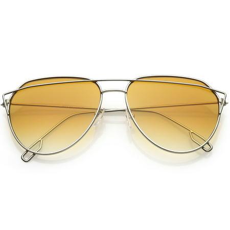 71b5918726 sunglassLA - Modern Aviator Sunglasses Metal Crossbar Slim Arms Color  Gradient Flat Lens 58mm (Silver   Orange ) - Walmart.com