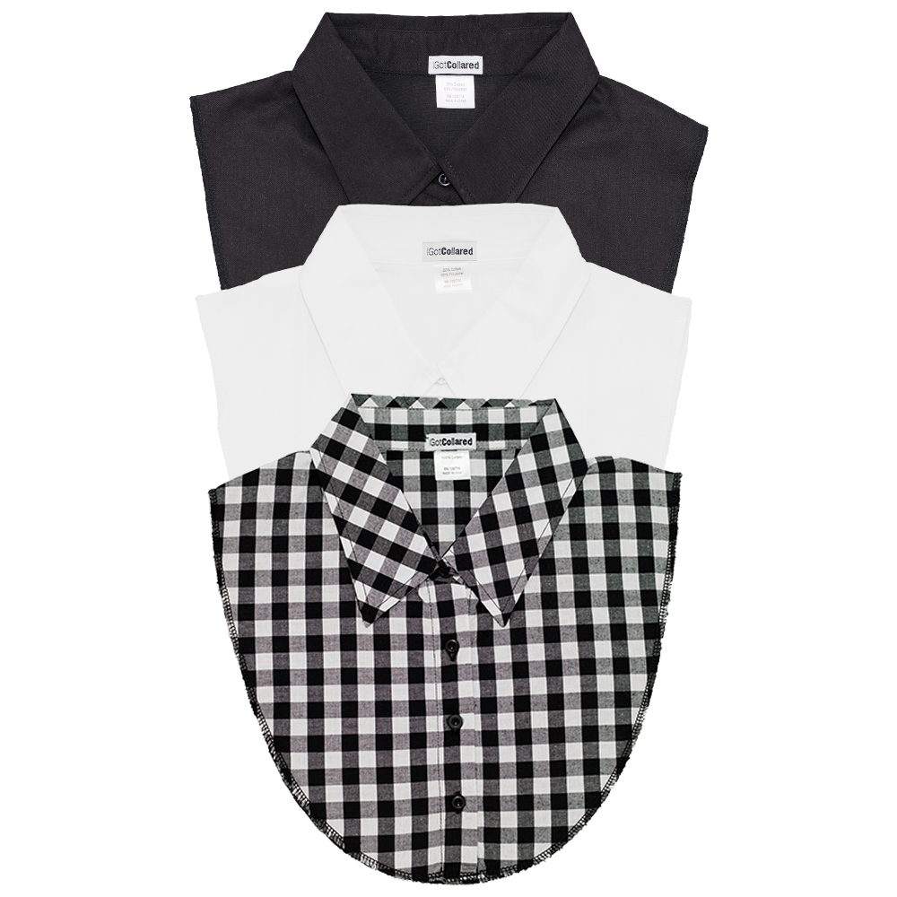 3Pack of Black, White and Gingham Plaid Collared Dickies by