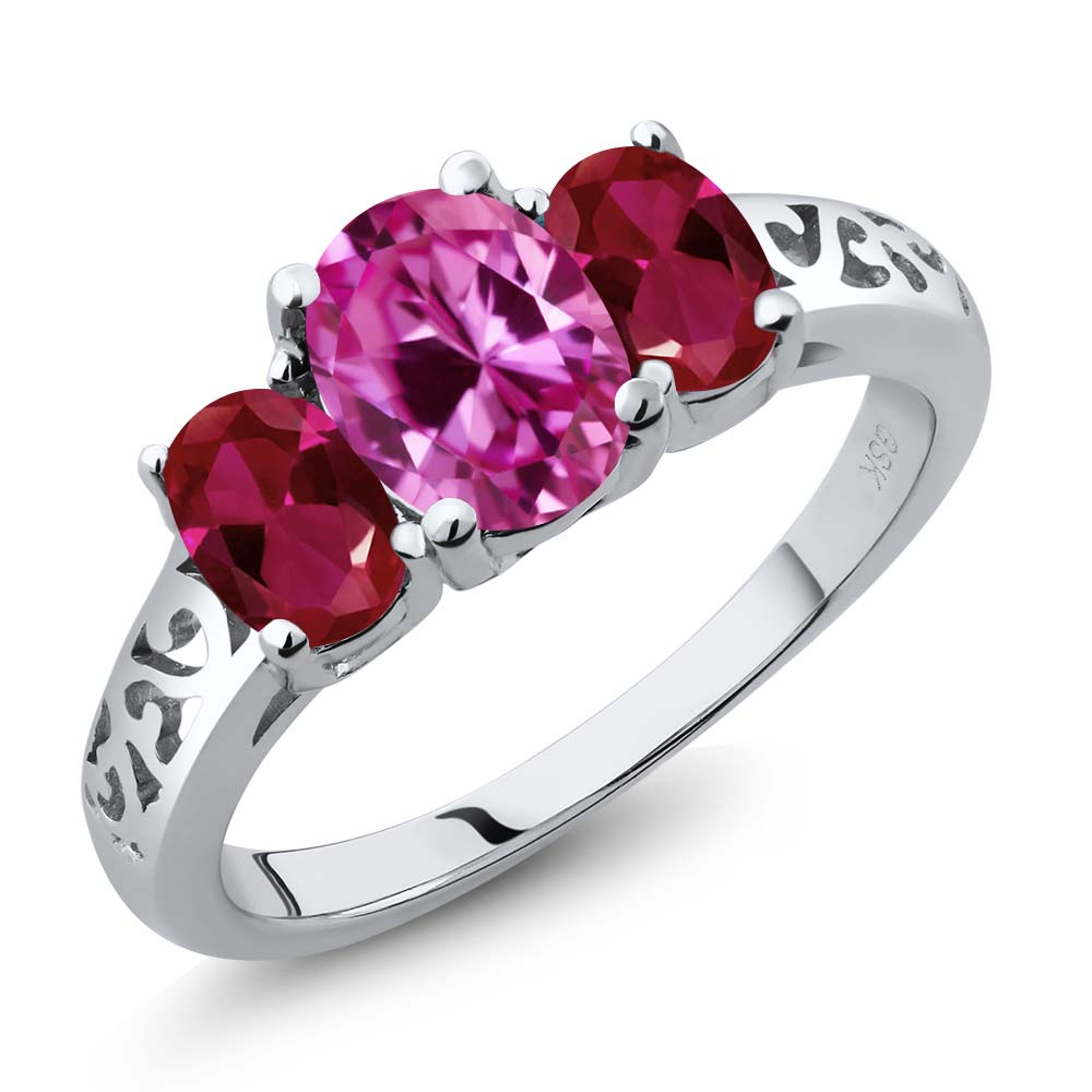 2.65 Ct Oval Pink Created Sapphire Red Created Ruby 925 Sterling Silver 3-Stone Ring by