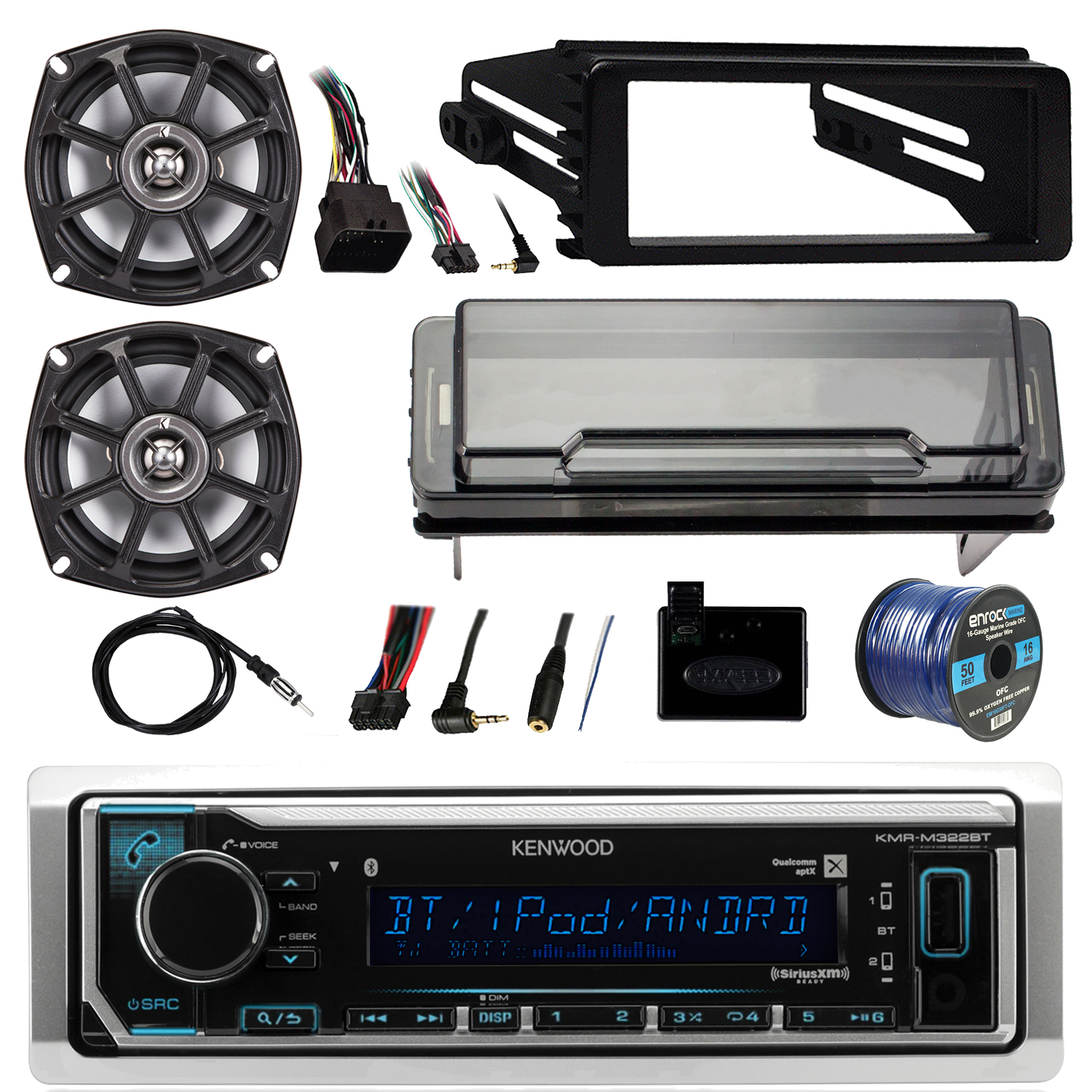 "1998-2013 Harley Davidson Bundle: Kenwood Marine Receiver w/ Bluetooth, 2X Kicker 10 PS5250 4-Ohm 5.25"" 2-way Boat Speakers, Radio Cover, Handlebar Control Interface, Dash Kit, Antenna, 50ft 16-G Wire"