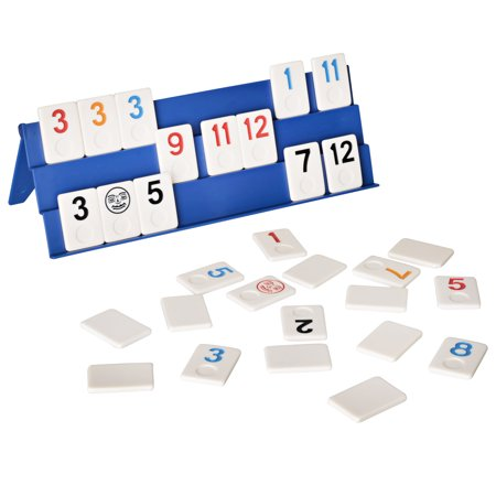 Point Games: Full Size Rummy Game Set with 106 Tiles and Four 3 Tier Exclusive Playing Racks in Super Durable Travel Bag