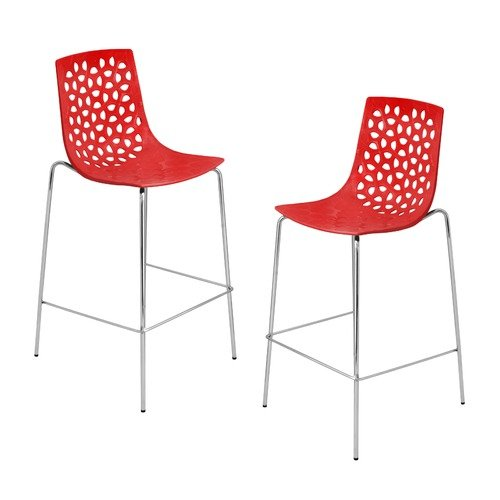 LumiSource Lola Barstool in Red (Set of 2)