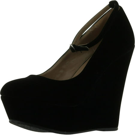 Black Faux Suede Round Toe Ankle Strap Cover Platform Wedge Shoes