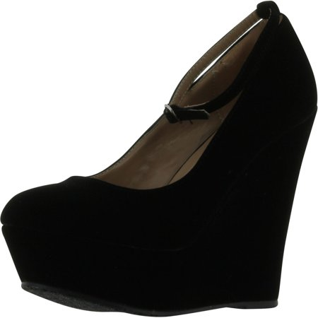 Black Faux Suede Round Toe Ankle Strap Cover Platform Wedge - Platform Shoes From The 70s