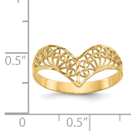 14K Yellow Gold Diamond-Cut Filigree Ring - image 1 of 2