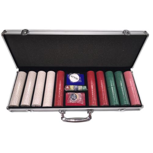 All-In 500-piece Clay Poker Chip Set with Carrying Case by Overstock