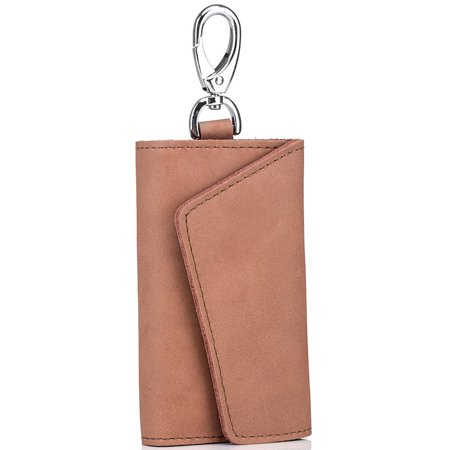 Unisex Genuine Leather Key Case with Card Slot and Key Chain Ring Key Pouch For Men or Women ()
