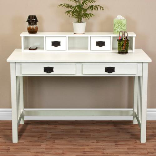 Best Choice Products Writing Desk Mission White Home Office Computer Desk Solid Wood Construction New
