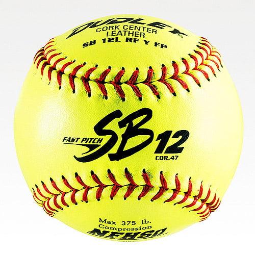 Dudley SB 12L NFHS Cork Center Fast Pitch Leather Softballs, 1 Dozen. 4H-311Y by Dudley