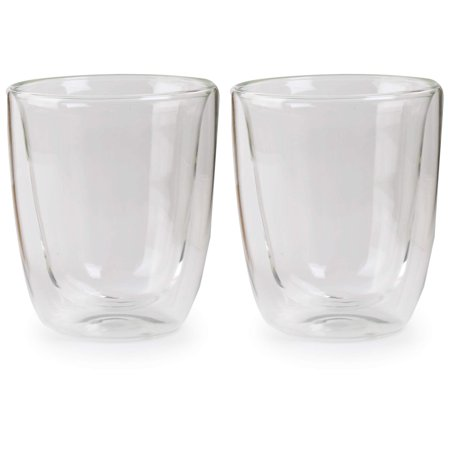Mn Cup - Circleware Thermax Double Wall Insulated Glass Drinking Cups, 2-Pieces, 11.5 Ounces