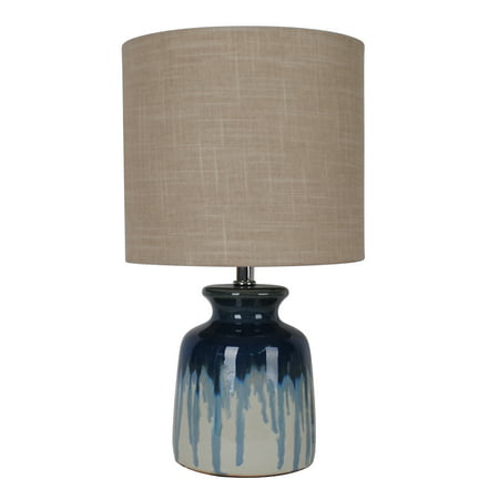 Better Homes & Gardens Ceramic Ombre Drip Table Lamp, Blue ()