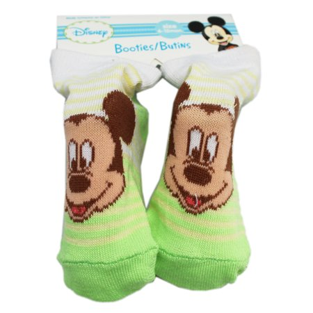 Disney's Mickey Mouse Green/Yellow Striped Baby Booties (1 Pair, 6-12 Months)](Mickey Mouse Baby)