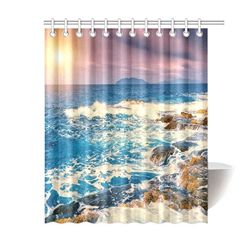 GCKG Fantastic View Of Seascape Shower Curtain Vintage Sunset Tropical Beach Coastal Polyester Fabric Bathroom Sets With Hooks 60x72 Inches